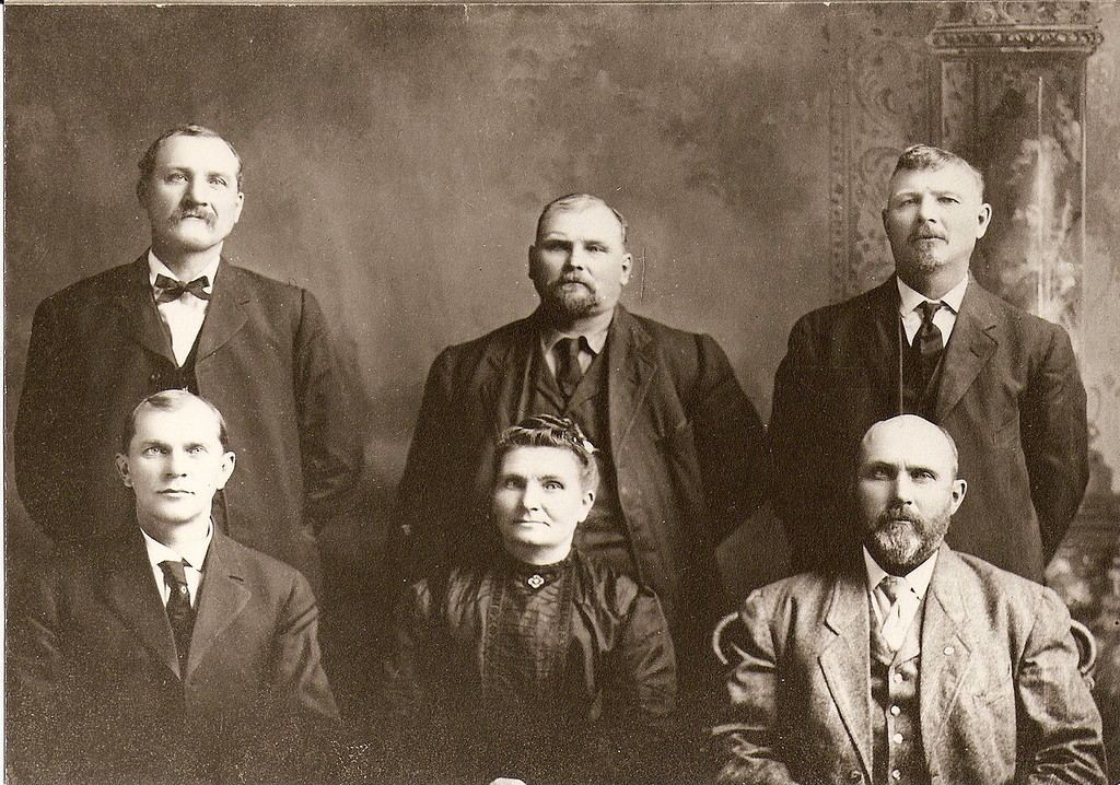 Bernard Beckman (back row, right) is the father of my paternal grandmother (or my great-grandfather).  He is pictured here with his siblings, Frank and Clem and (front row, r to l) Joe, Therese Tegler, and George.
