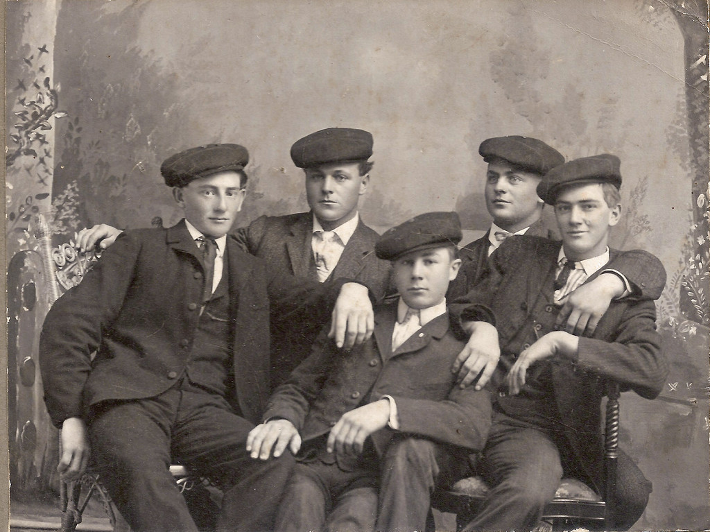 My paternal grandfather, Anton Boeckenstedt, is shown here, second from left.  His brother, John (aka Pinoak) is second from right, but we can't identify any of the others, or what the occasion might have been.